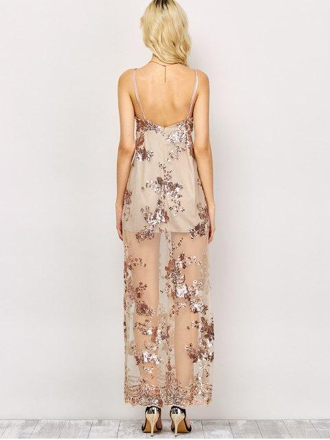 womens Low Cut High Slit Sequins Maxi Dress - APRICOT M Mobile