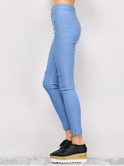 unique Ripped Skinny Pencil Jeans - LIGHT BLUE L Mobile