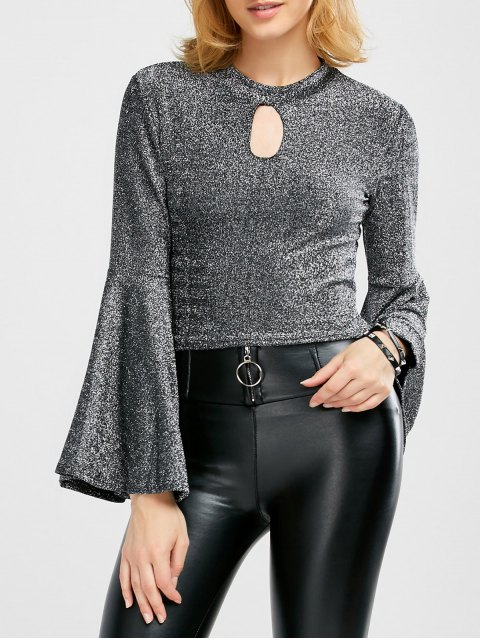 latest Keyhole Bell Sleeve Glitter Top - SILVER ONE SIZE Mobile