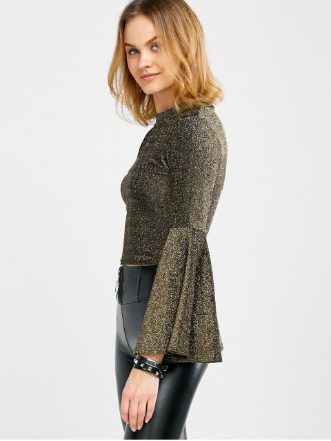 trendy Keyhole Bell Sleeve Glitter Top - GOLDEN ONE SIZE Mobile