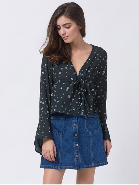 unique V Neck Tiny Floral Smock Blouse - BLACK XL Mobile