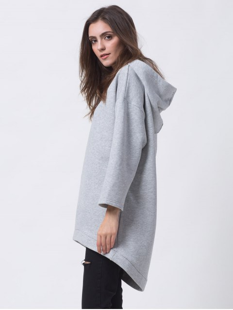 chic Pullover High Low Hoodie - LIGHT GRAY XS Mobile