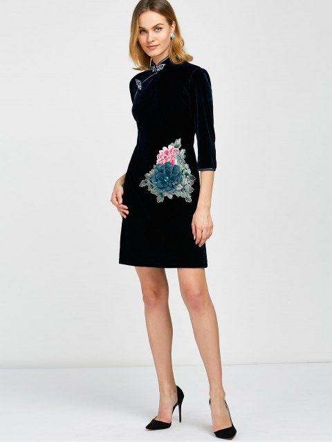 womens Embroidered Patch Velvet Cheongsam Dress - DEEP BLUE L Mobile