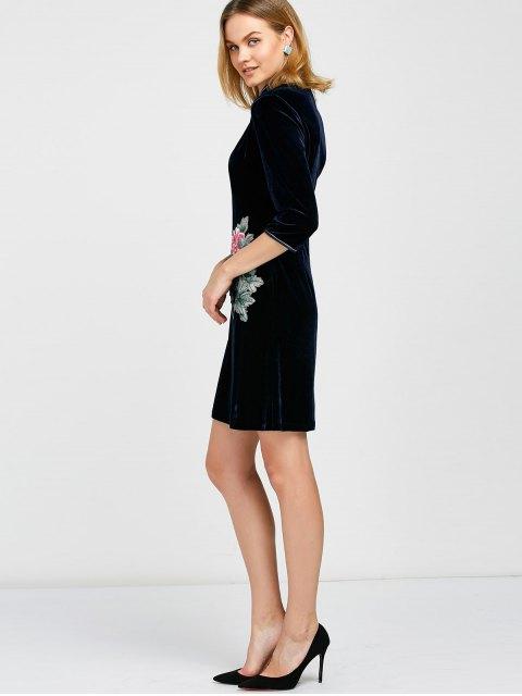 buy Embroidered Patch Velvet Cheongsam Dress - DEEP BLUE XL Mobile