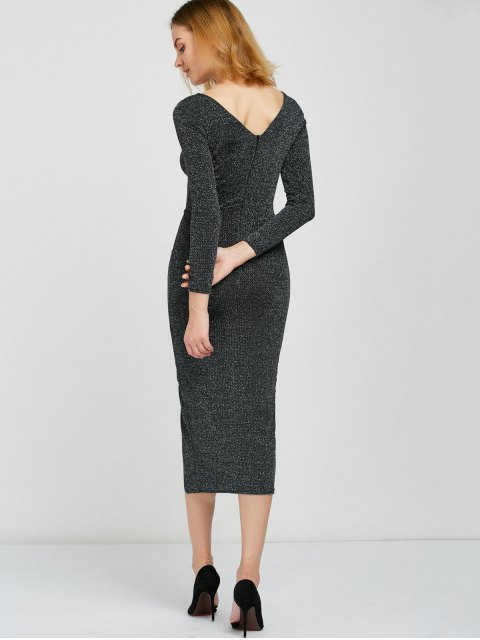 chic Shimmer Pencil Dress - SILVER GRAY ONE SIZE Mobile