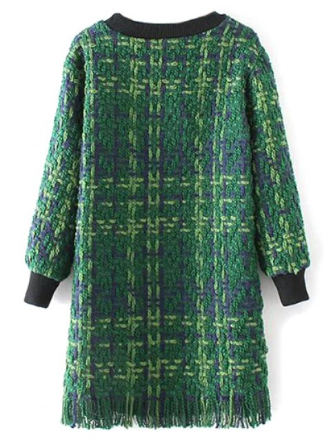 outfits Heathered Fringed Sweater Dress - GREEN M Mobile