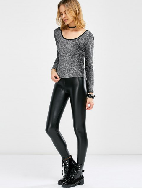 online Long Sleeve Glitter Scoop Tee - SILVER ONE SIZE Mobile