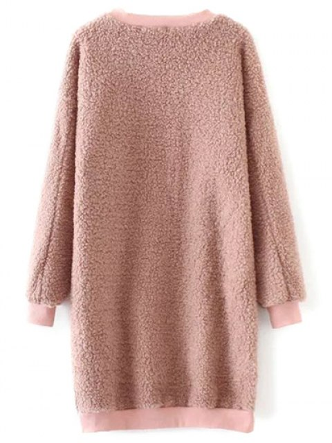 new Sequined Lamb Wool Straight Dress - PINK ONE SIZE Mobile
