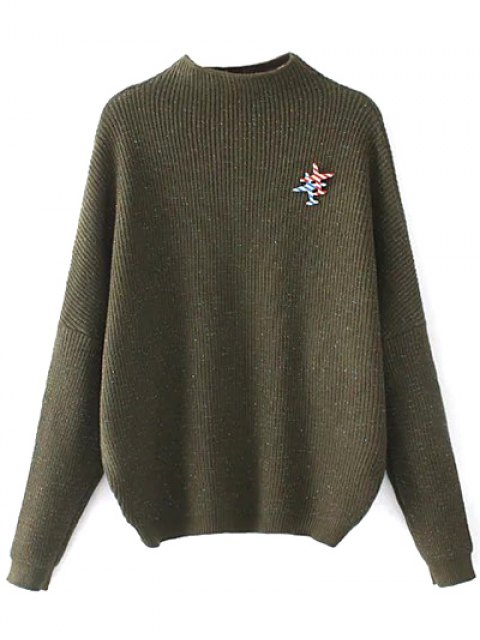 unique Oversized Mock Neck Sweater With Brooch - ARMY GREEN ONE SIZE Mobile