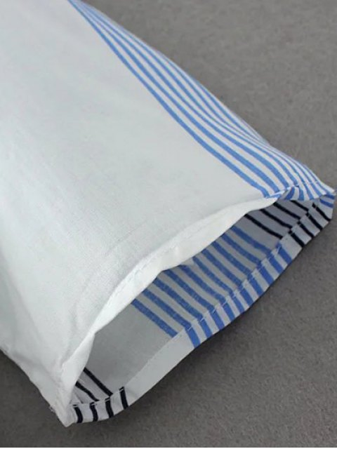shop Striped Curled Sleeve Shirt With Pockets - BLUE S Mobile