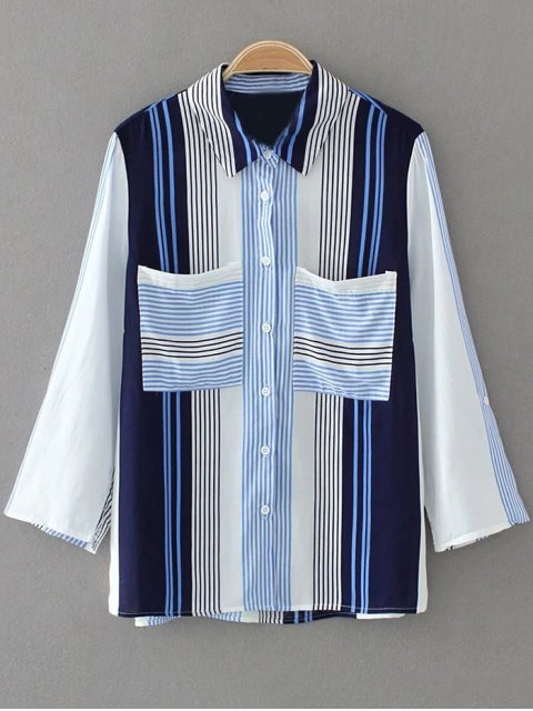 outfits Striped Curled Sleeve Shirt With Pockets - BLUE M Mobile