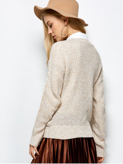 womens Heather Cable Knit Sweater - KHAKI ONE SIZE Mobile
