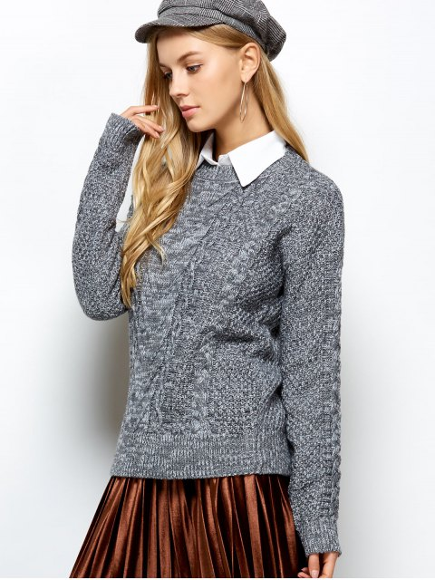 women Heather Cable Knit Sweater - GRAY ONE SIZE Mobile