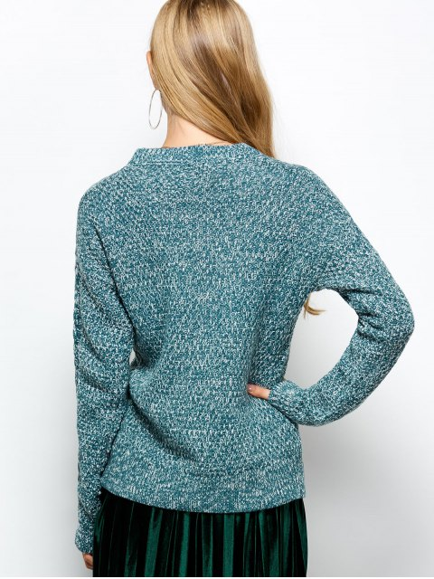 women's Heather Cable Knit Sweater - TURQUOISE ONE SIZE Mobile