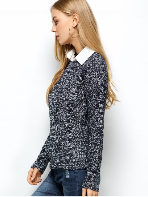 ladies Heather Cable Knit Sweater - PURPLISH BLUE ONE SIZE Mobile