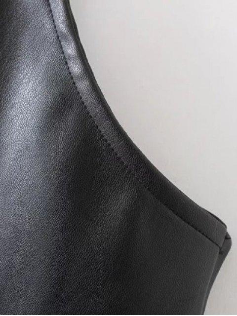 trendy PU Leather Cami Mini Dress - BLACK M Mobile