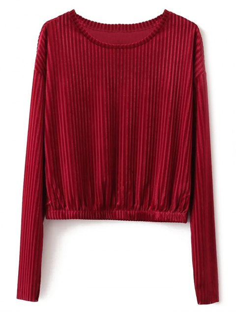online Ribbed Long Sleeve T-Shirt - RED S Mobile