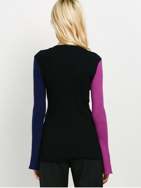 fashion Contrast Bell Sleeve Ribbed Sweater - BLACK ONE SIZE Mobile