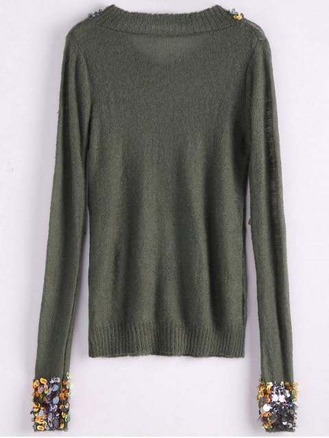 online V Neck Sequins Sweater - ARMY GREEN ONE SIZE Mobile