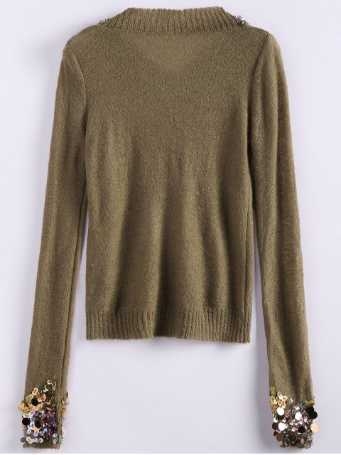 new V Neck Sequins Sweater - CAMEL ONE SIZE Mobile