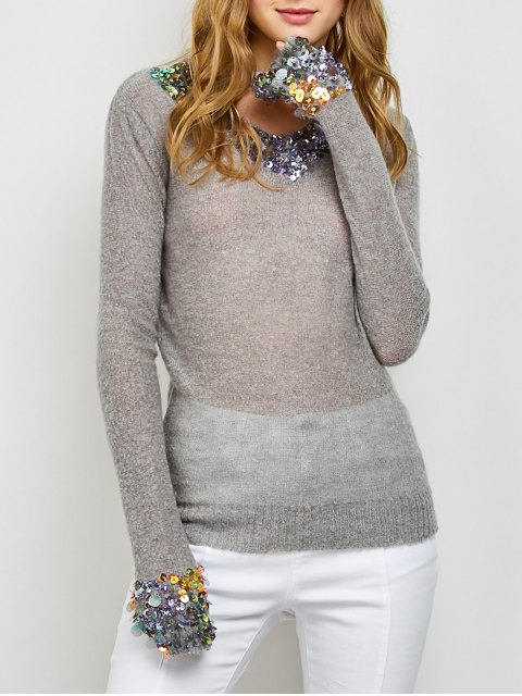 hot V Neck Sequins Sweater - GRAY ONE SIZE Mobile