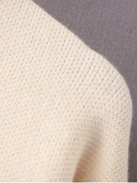 online Crew Neck Drop Shoulder Sweater - PINK ONE SIZE Mobile