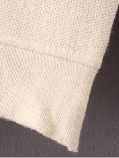 hot Crew Neck Drop Shoulder Sweater - OFF-WHITE ONE SIZE Mobile