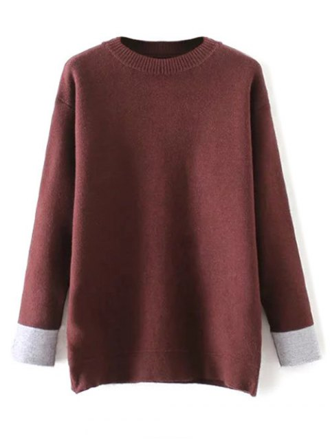 outfit Crew Neck Drop Shoulder Sweater - DARK RED ONE SIZE Mobile