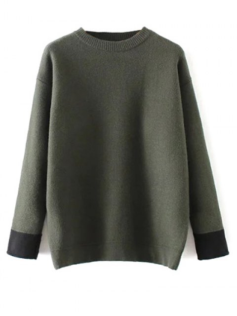 new Crew Neck Drop Shoulder Sweater - GREEN ONE SIZE Mobile