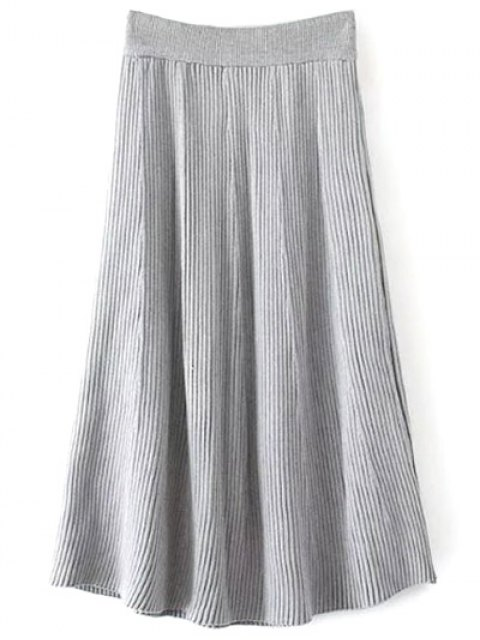 women Knitted Ribbed Midi Skirt - GRAY ONE SIZE Mobile