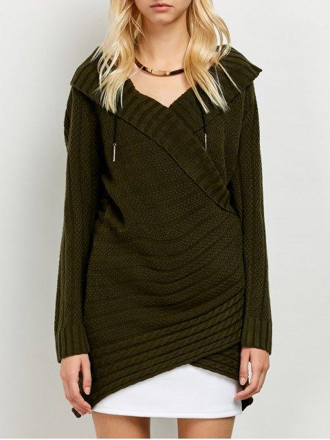 shop Longline Surplice Sweater - ARMY GREEN ONE SIZE Mobile