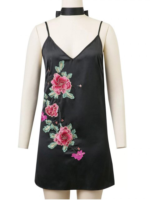 unique Cami Rose Embroidered A-Line Dress - BLACK S Mobile