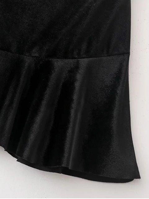 online Flounced Velvet A-Line Skirt - BLACK L Mobile