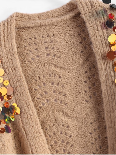 latest Longline Sequins Open Knit Cardigan - KHAKI ONE SIZE Mobile