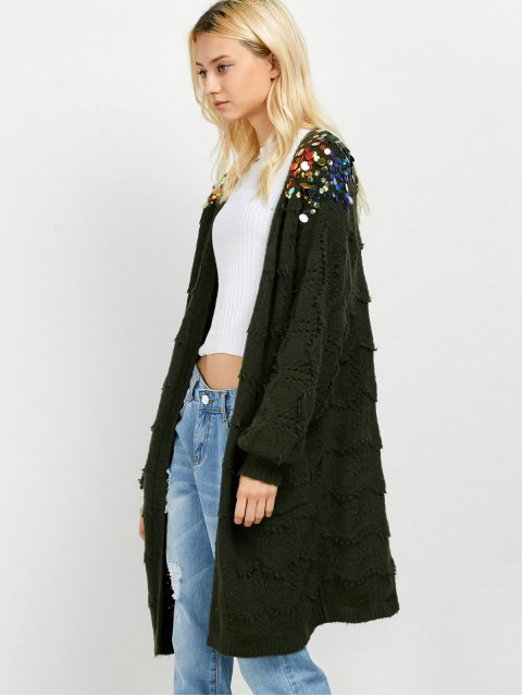 trendy Longline Sequins Open Knit Cardigan - ARMY GREEN ONE SIZE Mobile