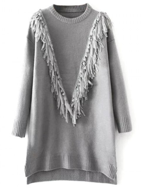 fashion Tassel Round Neck High Low Jumper - GRAY ONE SIZE Mobile