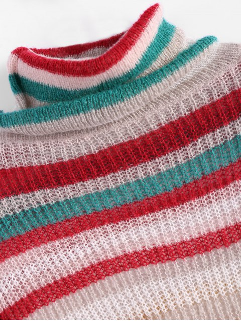fashion Sequins Striped Turtleneck Sweater - WHITE ONE SIZE Mobile