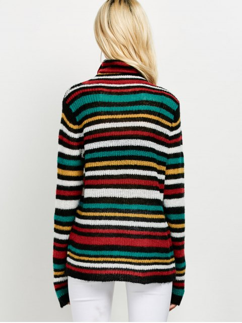 chic Sequins Striped Turtleneck Sweater - BLACK ONE SIZE Mobile