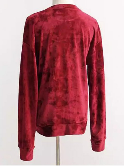 hot Oversized Velvet Sweatshirt - RED ONE SIZE Mobile