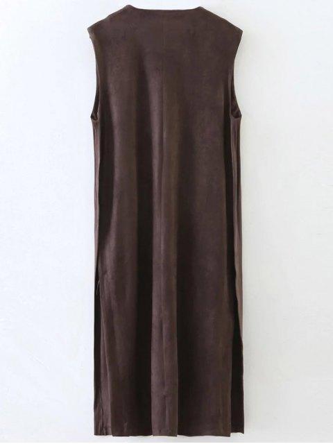 sale Longline Side Slit Suede Waistcoat - COFFEE S Mobile