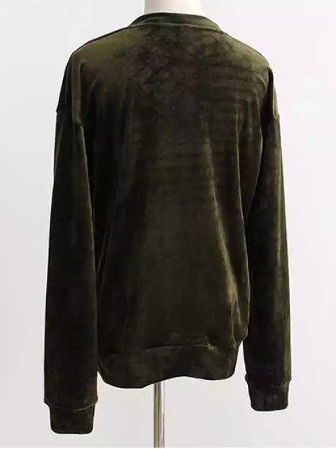 outfits Oversized Velvet Sweatshirt - BLACKISH GREEN ONE SIZE Mobile