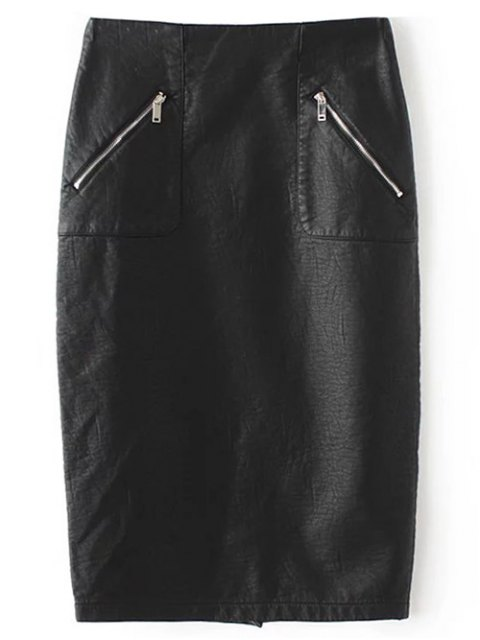 unique PU Leather Pencil Skirt - BLACK L Mobile