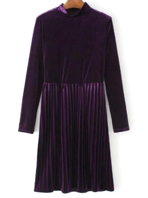 lady Long Sleeve Vintage Velvet Pleated Dress - PURPLE M Mobile
