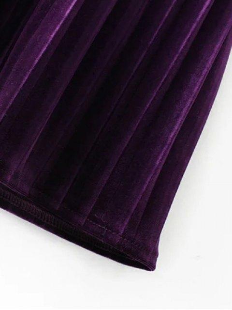 online Long Sleeve Vintage Velvet Pleated Dress - BROWN L Mobile