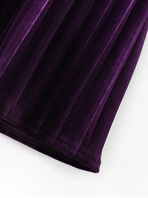outfits Long Sleeve Vintage Velvet Pleated Dress - BLUE M Mobile