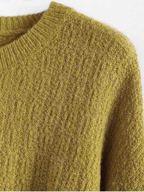 shop Dropped Shoulder Crew Neck Sweater - BLUISH YELLOW ONE SIZE Mobile