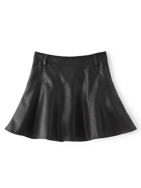 lady A Line PU Leather Mini Culotte Skirt - BLACK S Mobile