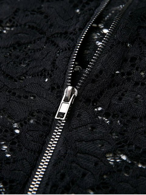 outfit Flounced Off The Shoulder Lace Bodysuit - BLACK S Mobile