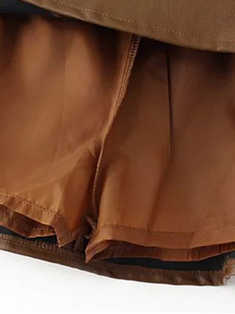 outfit A Line PU Leather Mini Culotte Skirt - BROWN M Mobile