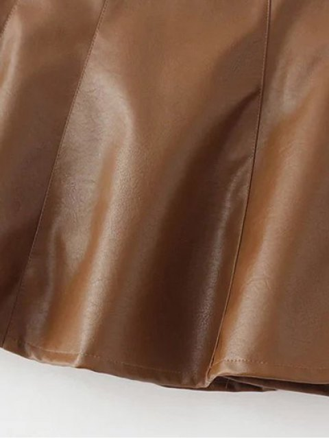 outfits A Line PU Leather Mini Culotte Skirt - BROWN S Mobile